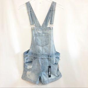 Dollhouse Overalls distressed Denim Shorts Size 9